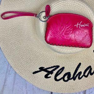 Hawaii LEATHER WRISTLET pink w/key ring NNT